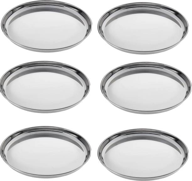 Nirvika Stainless Steel Heavy Gauge Dinner Plates with Mirror Finish - Set of 6pc Dinner Plate