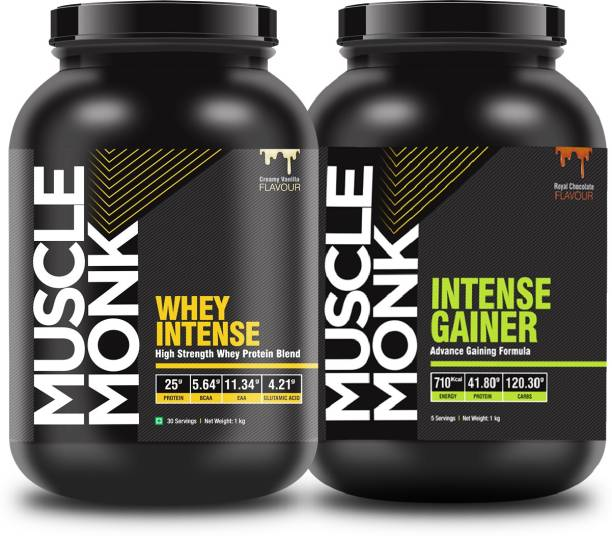 MuscleMonk Intense Whey Strength Protein (Creamy Vanilla) With Intense (Royal Chocolate) 1Kg Whey Protein