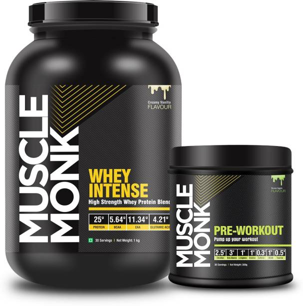 MuscleMonk Highly Whey Intense Protein 1Kg Green-Apple, 30 Servings, 300Gms Whey Protein