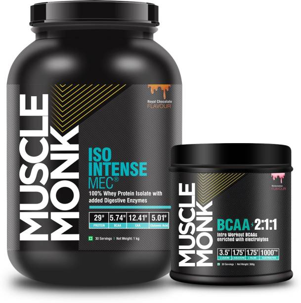 MuscleMonk ISO Intense MEC Whey Protein Isolate 1kg Watermelon, 300gms with 30 Servings Whey Protein