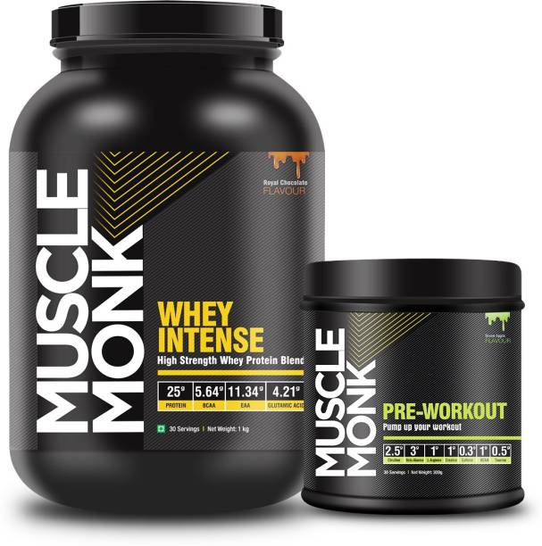 MuscleMonk Quality Whey Intense Protein 1Kg Royal Chocolate, Green Apple300gms (30 Servings) Whey Protein