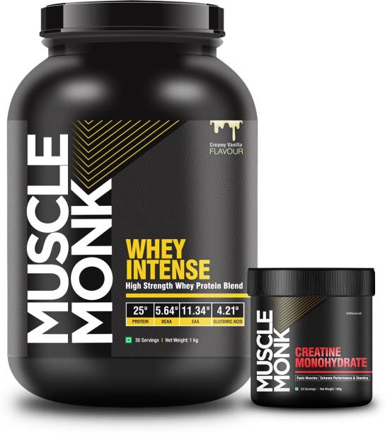 MuscleMonk Highly Intense Whey Protein (Vanilla 1Kg with Creatine Monohydrate 100gms) Whey Protein