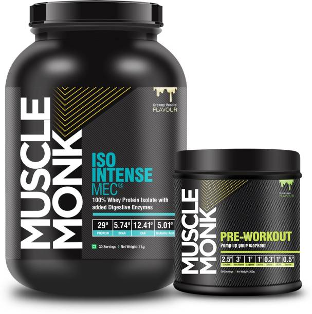 MuscleMonk ISO Intense MEC Whey Protein 1Kg Creamy Vanilla Green Apple 300Gms - 30 Servings Whey Protein