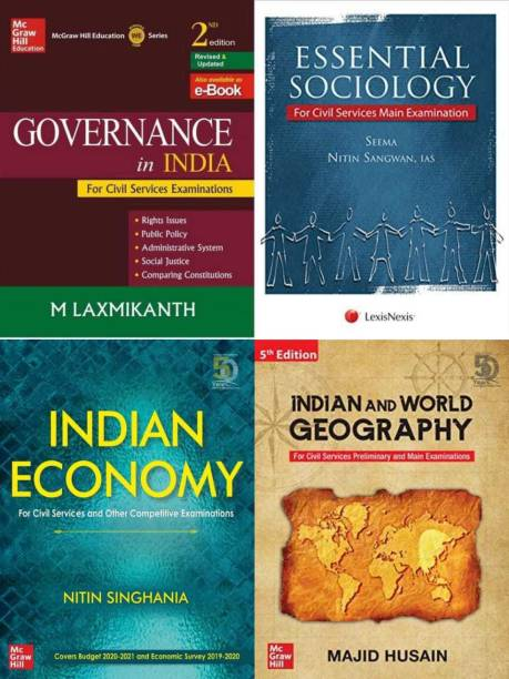 Set Of 2 (Indian Economy + Governance In India + Essential Sociology + India And World Geography)
