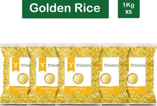 Trinetra Best Quality Golden Rice-1Kg (Pack Of 5) Yellow Rice (Medium Grain, Parboiled)