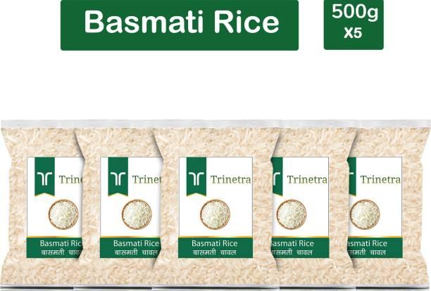 Trinetra Best Quality Basmati Rice-500gm (Pack Of 5) Basmati Rice (Long Grain, Raw)