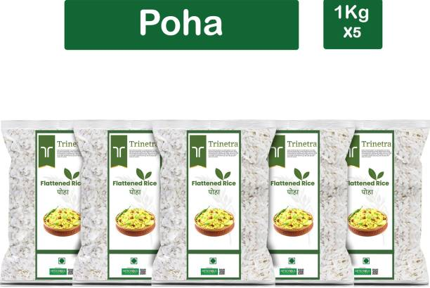Trinetra Best Quality Poha (Flattened Rice)-1Kg (Pack Of 5) Poha
