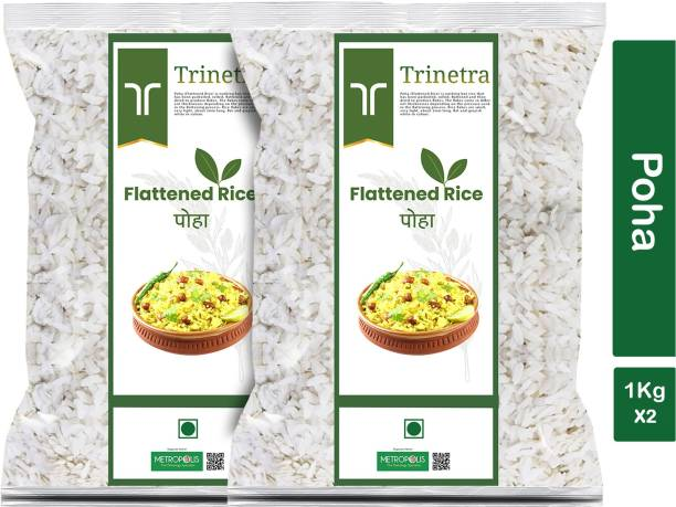 Trinetra Best Quality Poha (Flattened Rice)-1Kg (Pack Of 2) Poha
