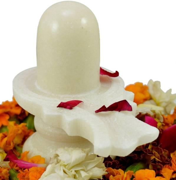 Atharv Enterprises Primium Quality White Marble Shiva Lingam Shivling Decorative Showpiece  -  15 cm