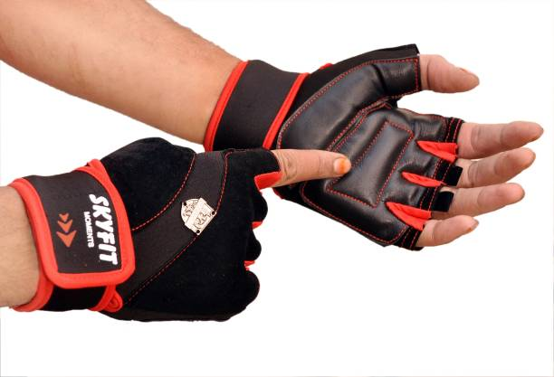 SKYFIT Super Dryfit Leather Padded Gym Sports Gloves For Men And Women With wrist support Gym & Fitness Gloves