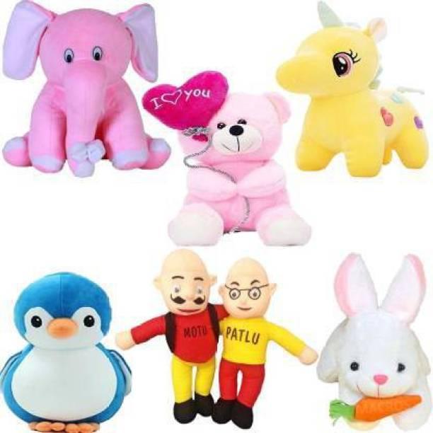 Shanshu Classic Super Soft Funny Combo of 6 Stuffed Toys Teddy Bear Toy in Low Budget for kids / Gift , Elephant , Unicorn , Balloon Teddy , Penguin , Rabbit , Motu Patlu. - 25 cm  - 30 cm