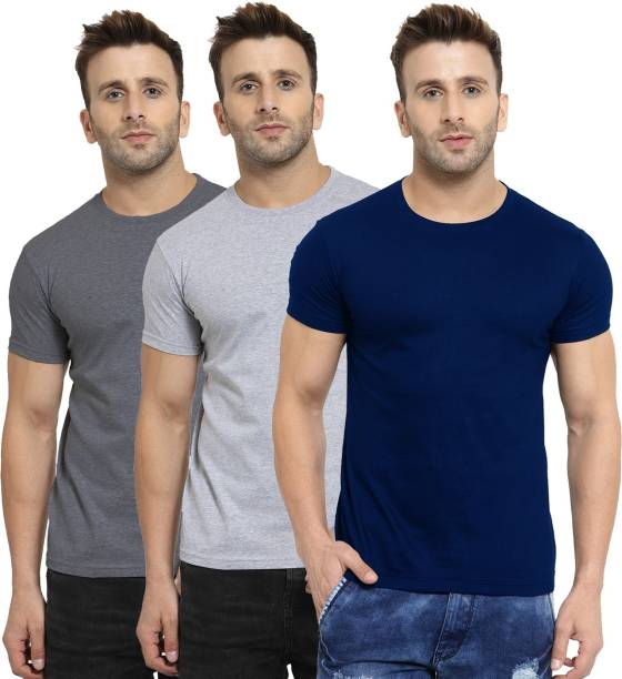 SCOTT INTERNATIONAL Solid Men Round Neck Multicolor T-Shirt