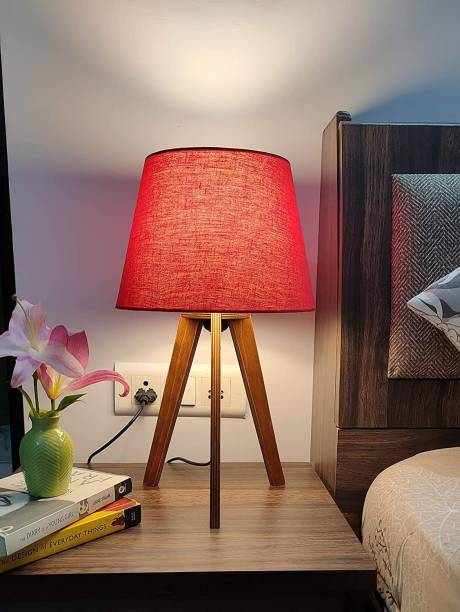 PlyPandit Tripod Desk Lamp for Bedside and Study in Brown Wood Finish (Red) Table Lamp