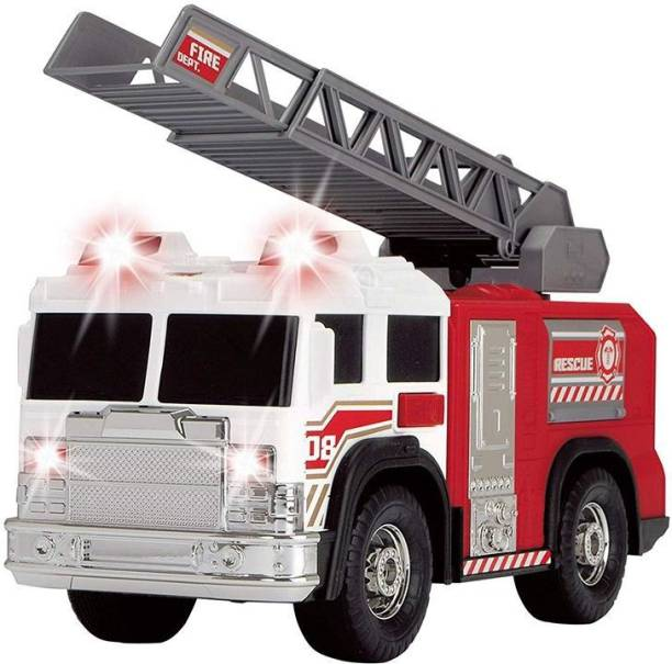 HOT WHEELS Dickie Fire Rescue Unit Truck with Light and Sound, Red