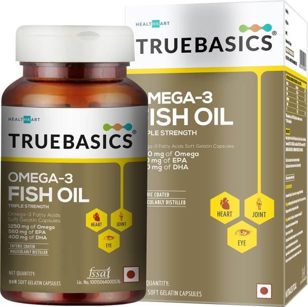 TrueBasics Omega-3 Fish Oil Triple Strength with 1250mg of Omega (560mg EPA & 400mg DHA)