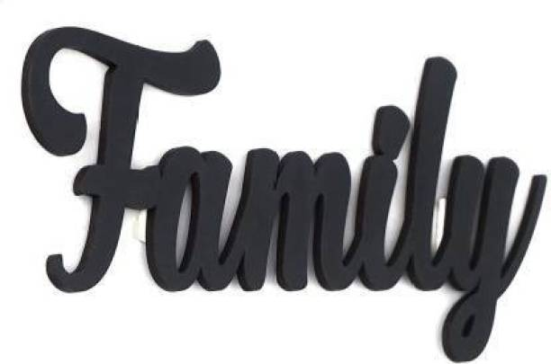 Dravin Craft Dravin Craft FAMILY Only MDF Plaque Painted Cutout Ready to Hang Home Office Décor Wall Art (Black)