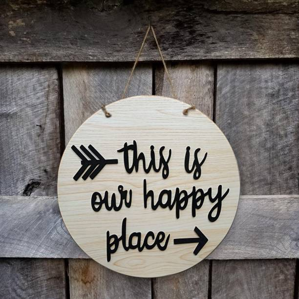 SHRADDHA SABURI ARTWORK Round Sign. Wood Sign. Tin Sign Welcome to our home. Front Door Decor. Door Decoration. Wall Decoration. Wall Décor, Door Hanging, welcome, wall hanging, this is our happy place Sign