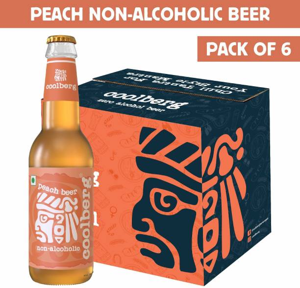 coolberg Peach Non Alcoholic Beer - 330ml (Pack of 6) Glass Bottle