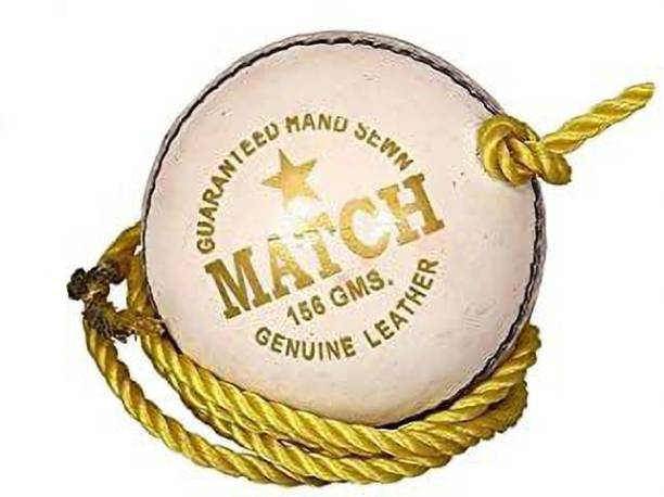 RSN White Practice Leather Hanging Cricket ball For Bat Knocking (Pack of 1, White) Cricket Leather Ball