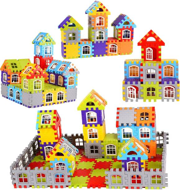 Extrawish Pack of 96 Pcs Multi-Colored Mega Jumbo Happy Home House Building Blocks with Attractive Windows and Smooth Rounded Edges - Building Blocks for Kids
