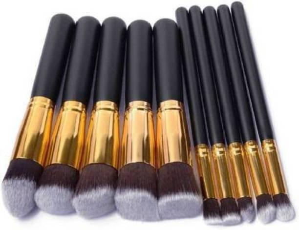 CHAVI INDIA 10 Pieces Professional Makeup Brushes Set Professional Foundation Blending Blush Face Liquid Powder Cream Cosmetics Makeup black color Kit