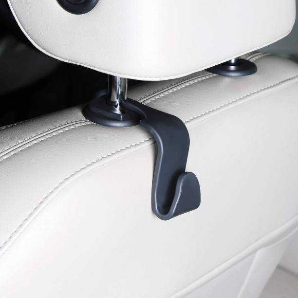 Newvent Car Back Seat Headrest Hook, Car Seat Hanger, Back Seat Plastic Hanging Storage Holder for Groceries, Handbags, Coat, Purse and Bags - (Pack of 8) – Black Color Car Single Pocket
