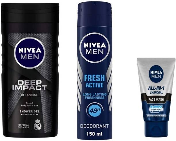 NIVEA Men Deep Impact Shower Gel 250 Ml , Men Fresh Active Deodorant Spray 150 ML , All In One Charcoal Face Wash 50 Ml #339