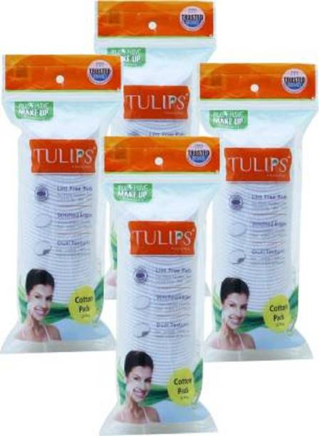 Tulips 50 COTTON PADS IN A ZIPLOCK BAG (PACK OF 4)
