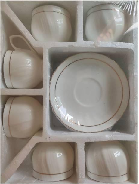 love unlimited Pack of 12 Bone China Golden Line Tableware Bone China Tea Coffee Cup Saucer Set - Curve Design