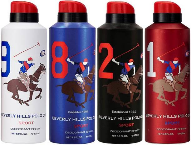 BEVERLY HILLS POLO CLUB One No. 9, One No. 8, One No. 2 and One No. 1 Deodorant Spray  -  For Men