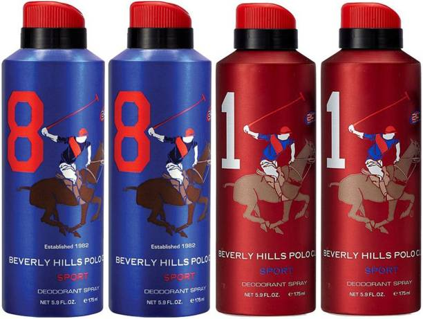 BEVERLY HILLS POLO CLUB Two No. 8 and Two No. 1 Deodorant Spray  -  For Men