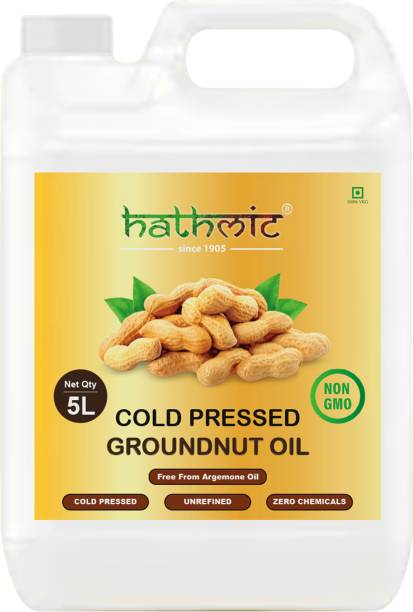 hathmic Cold Pressed Organic Groundnut Oil Can