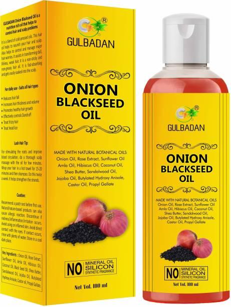 GULBADAN Onion Black Seed Hair Growth Oil With Argan & Jojoba ( 100% Pure ) For Men & Women Hair Oil