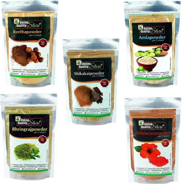 Online Quality Store Amla Reetha Shikakai, Bhringraj and Hibiscus Powder for Hair