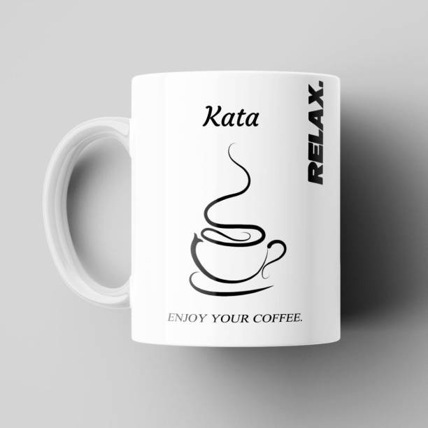 Beautum Relax and Enjoy Your Coffee Name Kata Printed Best Gift White Ceramic Coffee (350) ml Model No:BEYCR009221 Ceramic Coffee Mug