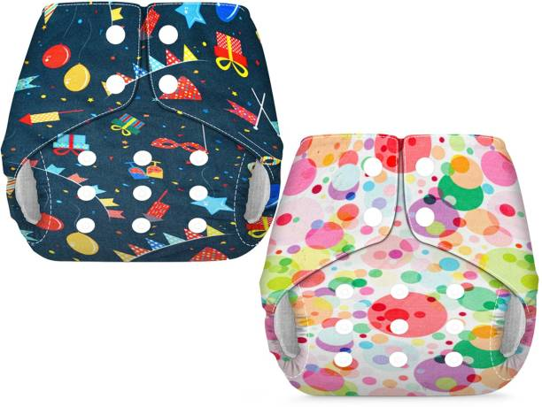 LILSTERS Soft Lined Pocket Diaper Combo 0 to 24 Months No Inserts Included (Birthday & Polka Dot)