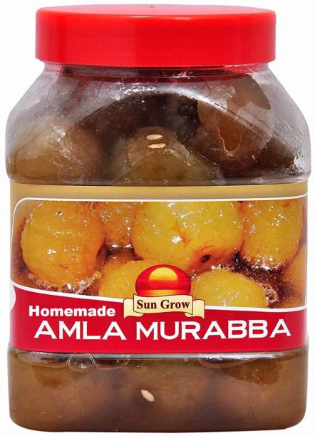 Sun Grow Organic Hand Made Mother Made Premium Quality (Real Taste of Murabba) HomeMade Amla Murabba (1 Kg) Amla Murabba