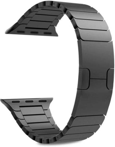JIGO PLUS Stainless Steel Premium Quality Metal Strap for Watch series 6 / 5 / 4 / 3 / 2 / 1, Size - 42MM / 44MM (Black, Pack of 1) Smart Watch Strap