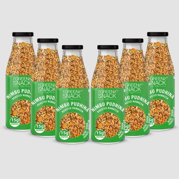 The Green Snack Co. Roasted Namkeen - Nimbu Pudhina (Pack of 6) 100g Each| Healthy Roasted Snacks | Diet Snacks | High In Protein | Gluten - Free | No Added Preservatives | Zero Transfat