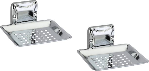 Reliable Mart Stainless Steel SS Chrome Finish Wall Mounted Soap Stand, Soap Case, Soap Dish (Pack of 2)