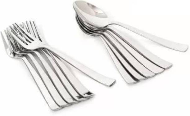 VIJAY EXPORT Stainless Steel Table Spoon & Fork for Tea, Coffee, Sugar, Condiments & Spices - Set of 12 (Contains 6 Table Spoons, 6 Forks) Steel Cutlery Set