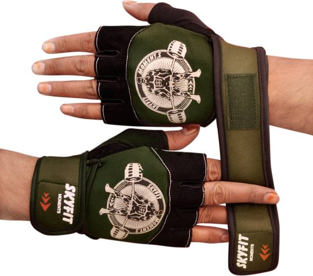 SKYFIT Excellent Leather Pads Gym Sports workout gloves For men And Women Gym & Fitness Gloves