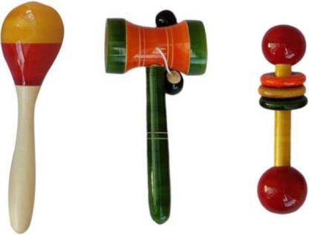 Tovick Wooden Set of Three classic baby Rattles - Eco-friendly Wooden Toys