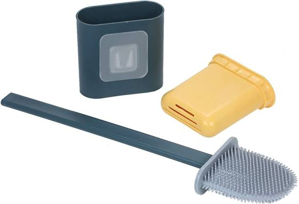 US1984 Silicone Toilet Brush with Bathroom Toilet Cleaning Brush and Holder with Holder