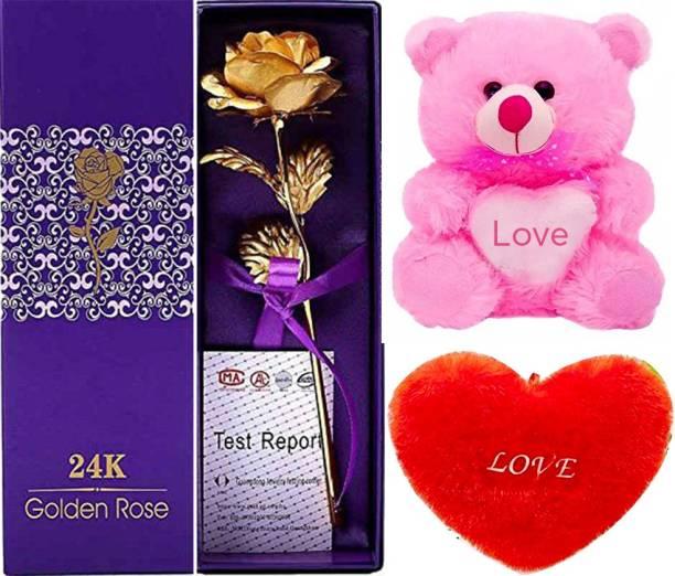 Art Bundle Soft Toy, Cushion, Artificial Flower Gift Set