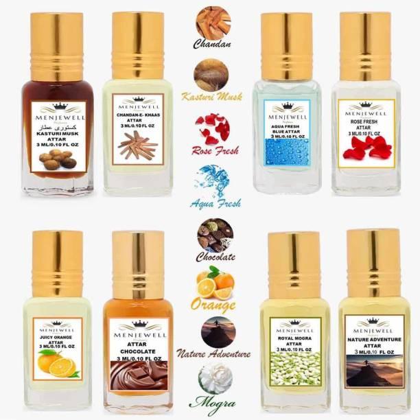 Menjewell Combo Pack 8PCS Attar(Kasturi Musk 3ML,Chandan-E-Khaas 3ML,Aqua Fresh 3ML,Rose Fresh 3ML,Juicy Orange 3ML,Chocolate 3ML,Royal Mogra 3ML,Nature Adventure 3ML)Attar/Perfume Floral Attar