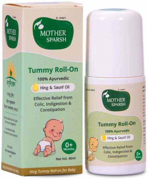 Mother Sparsh Tummy roll on for Colic Relief and Digestion with Hing and saunf, 100% ayurvedic 40ml