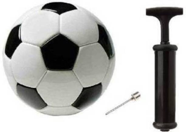 APPS SPORTS Football Size-5 With Air pump - Size: 5 (Pack of 1, White, Black) Football - Size: 5