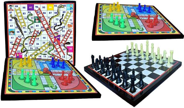 GOLDILUXE Wooden Ludo board Snakes & Ladders board & Chess board Combo With 2 Set of Ludo coins 1 Chessmen coins Set Board Game Accessories Board Game