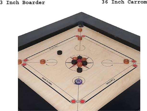 """Kalindri Sports 36 inch in 3""""×1.5"""" Frame and Four mm Ply with Coins, Striker and Powder Set 91.4 cm Carrom Board"""